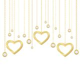 Golden heart and brilliants. Card with golden heart and brilliants on a white background Royalty Free Stock Photography
