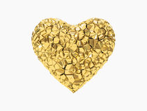 Golden heart. Broken with jagged texture similar to crack Stock Image