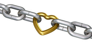Golden heart in chains. Golden heart linked with steel chains (3d render vector illustration