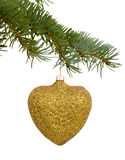 Golden heart Christmas toy Stock Images