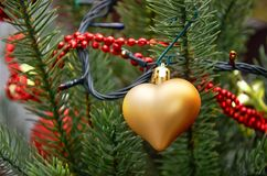 Golden heart. Christmas tree toy. Royalty Free Stock Image