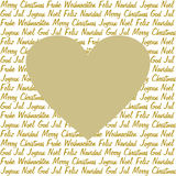 Golden heart on christmas wishes Stock Photography