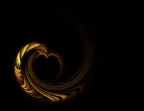 Golden heart with copy space on a black background Stock Photo