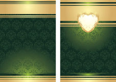 Golden heart on the decorative background. For holiday wrapping. Illustration royalty free illustration
