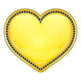 Golden heart with diamonds. Golden glossy heart with white gem stones isolated Royalty Free Stock Images