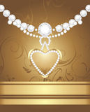Golden heart with diamonds and strasses Royalty Free Stock Photography