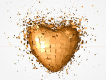 Golden heart explosion Royalty Free Stock Photos
