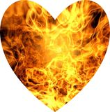 Golden heart, fire in heart, brown yellow look. Heart shape. burning heart for logo royalty free stock images