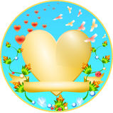 Golden Heart with a flower ornament. And jewelry Royalty Free Stock Photo