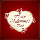 Golden heart and flowers on red valentines background Royalty Free Stock Images