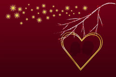 Golden heart frame below the branch. Big golden frame heart is on the right side of the vector. Branch of a tree with red hearts is above it. Many golden stars Stock Images