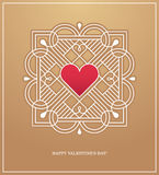 Golden heart frame for love design concept. Abstract banner, poster or greeting card design template with red heart in white linear frame. Love emblem in retro Stock Image