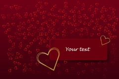 Golden heart frame on the red rectangle Royalty Free Stock Photos