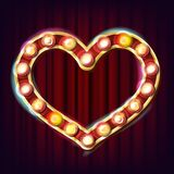Golden Heart Frame Vector. Electric Glowing Element. Realistic Illustration. Golden Heart Frame Vector. Glowing Light Bulbs. Retro Lamp Heart Frame Sign. Vintage Royalty Free Stock Images