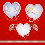 Golden heart frames with pigeons and cupid. On red background Royalty Free Stock Photos