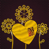 Golden heart and gear flowers Stock Photos