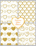 Golden Heart Glitter Background. Seamless pattern. Great design for Valentine's Day. Royalty Free Stock Images