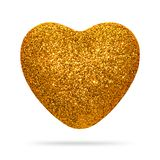 Golden heart with glitter texture isolated on white background. Heart shape. stock photo