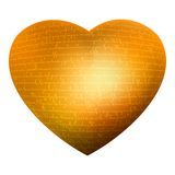 Golden heart, glow letters, text - love you. EPS 8 Stock Photo