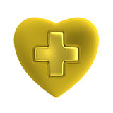 Golden heart with gold cross. Golden heart shape and golden cross inlay with matt and glossy textures. Isolated metallic medical symbol or first aid sign Royalty Free Stock Image