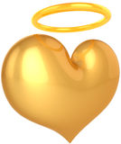 Golden heart with halo over it. Love Angel heart golden symbol. In Love we trust concept. Holy good paradise abstract. This is a detailed render 3d (Hi-Res) Stock Photography