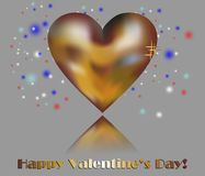 Golden heart and happy valentine's day Royalty Free Stock Images
