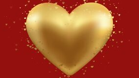 Golden heart hearts red background animation