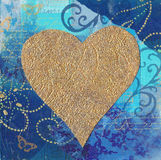 Golden heart illustration Stock Images