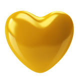 Golden Heart. Isolated image of a Golden heart on a white background. 3D render Stock Image