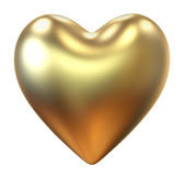 Golden heart isolated Royalty Free Stock Image