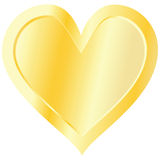 Golden heart isolated on white background Royalty Free Stock Photos