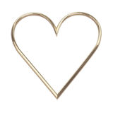 Golden heart - isolated on white Royalty Free Stock Photo