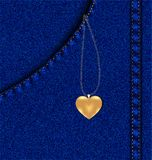 golden heart in a jeans pocket Stock Image