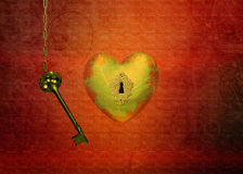 Golden Heart with Key Royalty Free Stock Photo