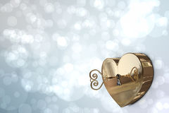 Golden heart lock with key Royalty Free Stock Image