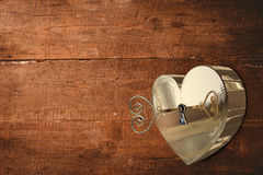 Golden heart lock with key Royalty Free Stock Photo