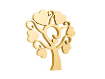 Golden heart love tree. Isolated on white background Stock Photo