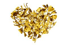 Golden heart made of flower petals on white background isolated close up, decorative gold heart shape ornament, floral leaves