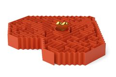 A golden heart in the maze.3D illustration. A golden heart in the maze. 3D illustration vector illustration