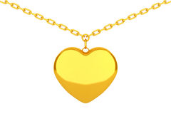 Golden Heart Medallion on chain. 3d Rendering Royalty Free Stock Photo