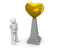 Golden heart monument Royalty Free Stock Images