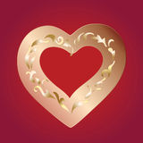Golden heart. Golden ornamented heart placed on red background royalty free illustration