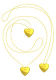 Golden heart pendant isolated necklace Stock Photos
