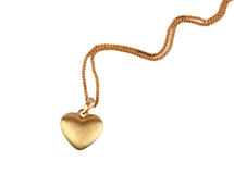 Golden heart pendant Royalty Free Stock Photography