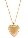 Golden heart pendant Stock Photos