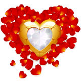 Golden heart and petal of rose. Greeting card with golden heart and petal of rose Royalty Free Stock Photo