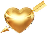 Golden heart pierced by arrow Royalty Free Stock Photo