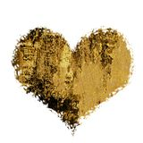A golden heart, a place for text. Uneven ragged edges, isolated. Icon Royalty Free Stock Image