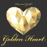 Golden heart polygon Royalty Free Stock Image