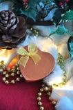 Present Box on Christmas Decoration Background Stock Image